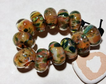 Lampwork Borosilicate Beads FALLING LEAF Two Sisters Designs 102416A