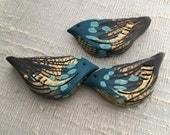 Gilded Bramble Bird Bead - Dark Teal