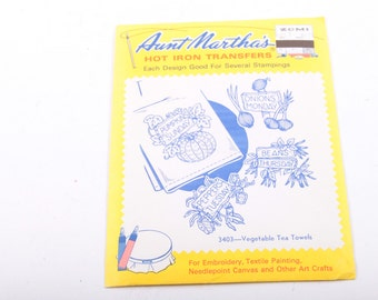 Days of the Week, Aunt Martha's, Hot Iron Transfers, Embroidery, Arts, Crafts, Vegetable Tea Towels ~ The Pink Room ~ 170101