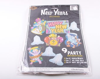 1980s New Year, Window Decals, New Year's Eve, Party Decorations, Supplies, Paper, Cutouts, Banner, Vintage, Unopened The Pink Room ~ 161029