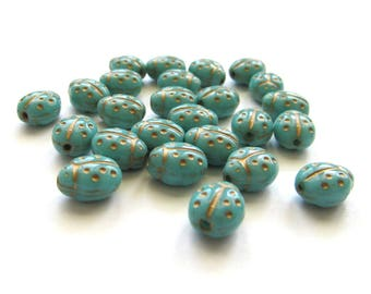 Opaque Turquoise Blue Ladybug Beads with Golden Inlay, 9mm x 7mm - 25 pieces