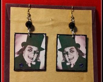Horror Movie Earrings Lon Chaney London After Midnight Master of Horror Decoupage Art Goth Earrings Vampire Earrings Handmade
