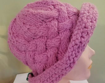 hat 030 Hand Knit Pink Vintage Style Paddington Hat Adult / Teen
