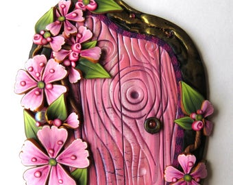 Springtime Cherry Blossoms Fairy Door by Claybykim Polymer Clay Miniature Fairy Gardens and Home