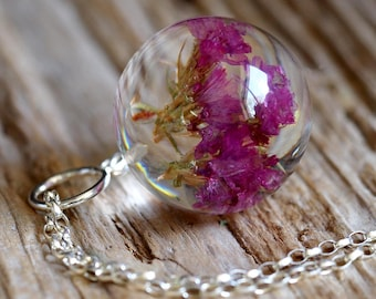 Large Pink Sea Lavender Flower Resin Necklace with Silver Chain, Bridal Jewelry, Floral Jewelry, Botalical Necklace