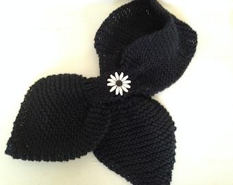 Ascot Keyhole Knit Scarf, Black