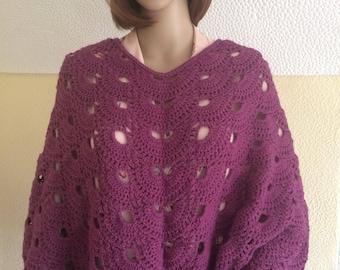 Crochet ladies plum poncho/ women's purple poncho- Ready to Ship