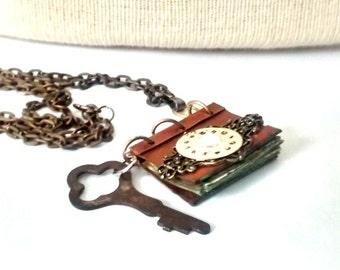 Necklace journal book secrets handmade art metal copper handmade filigree