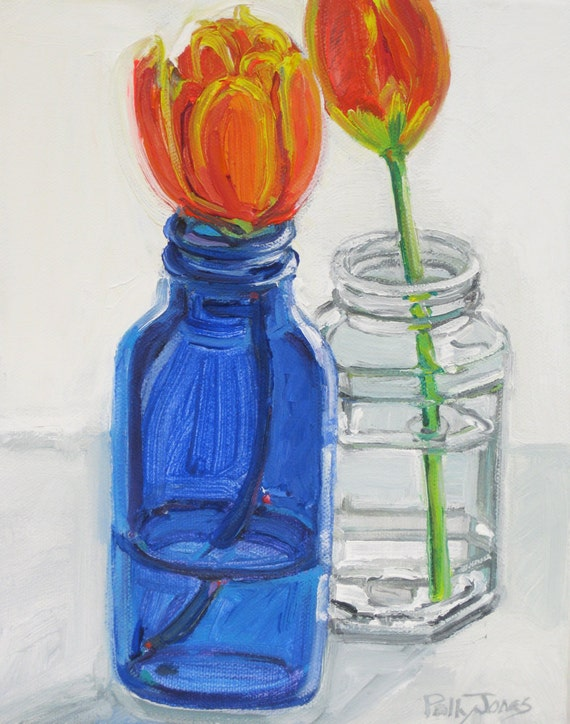 Tulips Two Ways original mixed media still life painting by Polly Jones