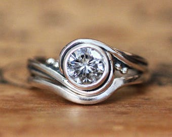 Forever one moissanite engagement ring set, moissanite bridal set, round moissanite engagement ring, sterling silver swirl engagement ring