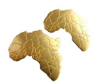 Brass Africa Pendants - no hole (4x) (M503-A)