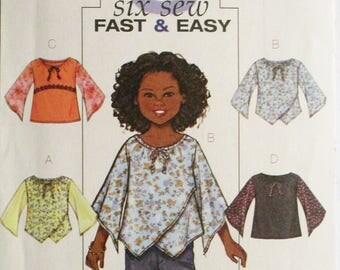 Childrens Sewing Pattern Butterick 4274 Girls / Girls Plus Top Pattern Size 7, 8, 10, 12, 14 Uncut