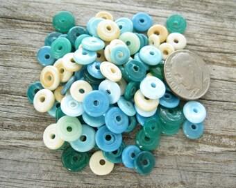 100 Handmade Lampwork Beads SRA Disk Disc Beach Mix