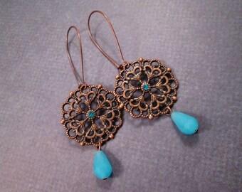 Drop Earrings, Filigree Pendants, Robins Egg Blue and Copper Dangle Earrings, FREE Shipping U.S.
