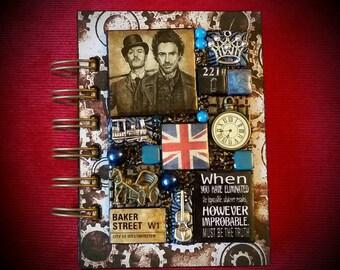 Sherlock Holmes A7 pocket Journal - Mixed Media Mosaic. John Watson. Jude Law. Robert Downey jr