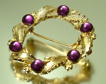 Vintage/ estate 1950s gold tone, mauve and purple paste/ glass, leaf costume brooch/ pin - jewelry jewellery