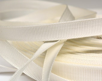 "Vintage Grosgrain Ribbon,  10 yards 3/8"", White, Rayon & Cotton"