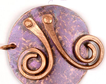 Hand Forged Rustic Copper Bracelet Focal Component,   Bracelet Link, DIY Jewelry Making F0530