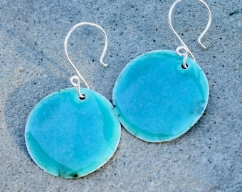 Large Enamel Silver Disc Earrings Blue Green
