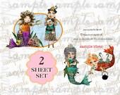 ART TEA LiFE Little Mermaids Journal Paper Doll 2 Sheet Set Collage Sheet digital file printable download decoupage clip art scrapbook parts