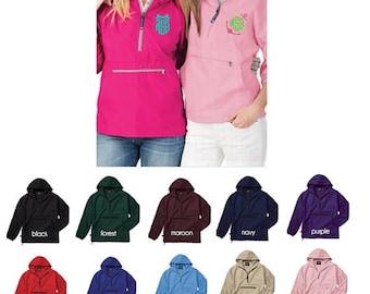 ON SALE Charles River Monogrammed Pullover - Rain Jacket - Monogram Quarter Zip - Pack N Go Rain Coat - Gift for Her