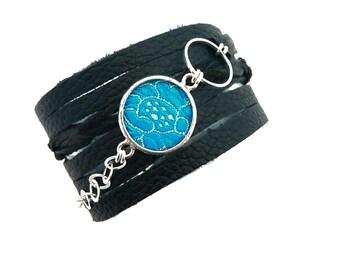 Shi Studio Wrap Around Leather Bracelet with Turquoise Floral Silk