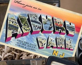 Vintage Large Letter Postcard Save the Date (Asbury Park Sunset) - Design Fee
