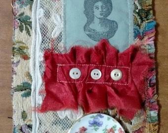 Raw edged scrap fabric collage art assemblage...Wishful