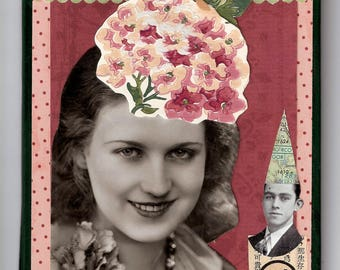 Original collage art with vintage photo on book cover...Well-behaved women
