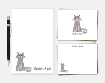 Kitty Cat Stationery Set - Personalized Cat Stationary Set - Personalised Cat Stationary - Custom Kitty Stationery
