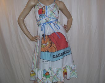 Garfield Cat Dress OOAK Upcycled Plaid Ruffle Mom Party Cartoon Rainbow Crusie Resort Maternity Kitty Garfield Aline Sundress M L XL Adult
