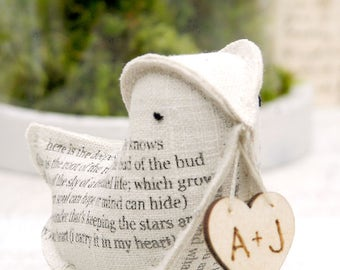 4th Wedding Anniversary Natural Linen  Bird featuring the poem I carry your heart with me EE Cummings Check processing and delivery times