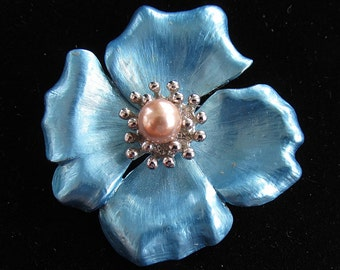 Vintage Enamel Brooch Pin Floral Stylized Dogwood 2 Inches