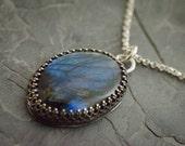 Labradorite Pendant. Labradorite Necklace. Gemstone Jewelry. Blue Labradorite Gemstone. Oval Cabochon. Fancy Labradorite Necklace.