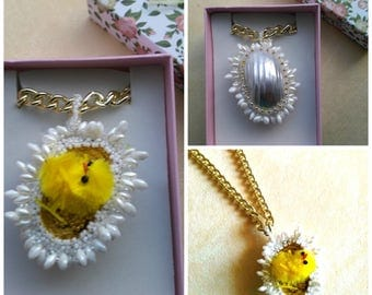 Beadwoven Beaded Egg with Chick Pendant, Mother of pearl Osmina shell, Gold Plated Chain, Cute Yellow Chick Necklace/ Choker, Easter Chick
