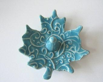 Ring Holder, Ring Dish, Maple Leaf Shape, Glazed in Sea Isle Blue Turquoise