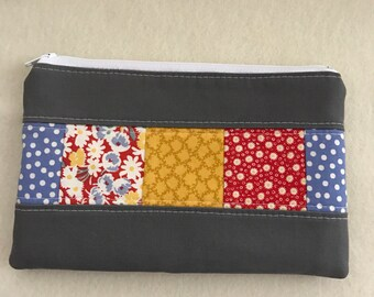 Zipper Pouch - Pencil Pouch - patchwork - red, blue, & yellow on gray