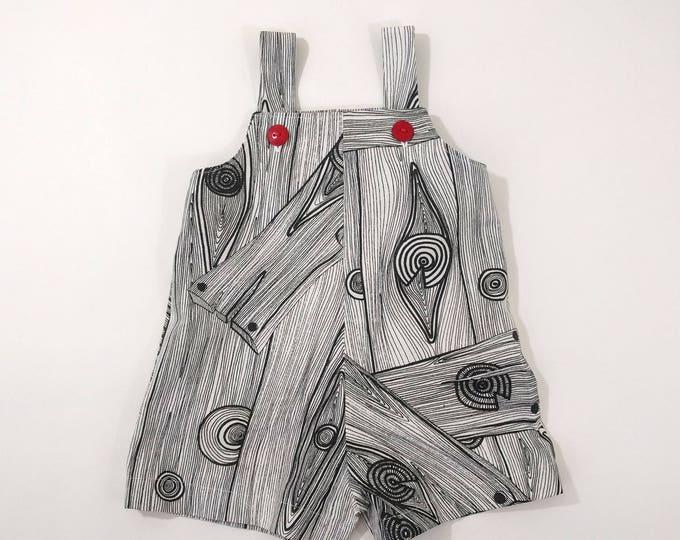 Toddler Boys or Toddler Girls Jon Jon Romper Shorts Overalls, Black & White Wood Grain, Sizes 12 - 18 Months, 18 - 24 Months, 2T, 3T, 4T