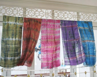 Hand tie dye  silk shawl
