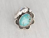 Vintage Sterling Silver Flower Ring - BIG turquoise Navajo Native American statement ring - Size 7.5