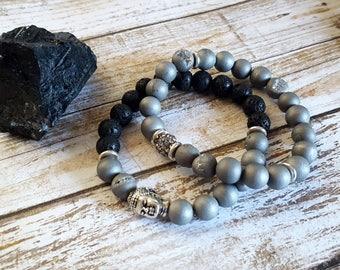 Essential Oil Diffuser Bracelet, Gemstone Bracelets, Silver Druzy Agate, Stackable, Gemstone Jewelry, Bead Bracelet, Essential Oil Bracelet