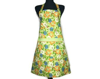 Earth Day Apron , Professional Chef Style , Green and Blue with Environmental Sayings and Recycle Symbols , Adjustable with Pocket