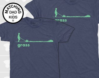 SALE! Matching Father Son Shirts, Dad and Baby Matching TShirts, Daddy Daughter Tee, Grass Lawnmower, Father Child Matching Gift