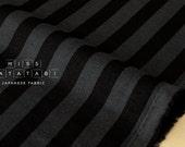 Japanese Fabric striped double gauze - black, charcoal - 50cm