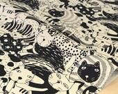 Japanese Fabric Big Cat canvas - black, cream - 50cm