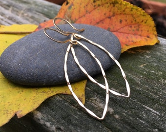 14k Gold Fill Hammered Marquise Hoop Dangle Earrings, Simple Rustic Long Big Basic, Shiny Gold, Fall Autumn Colors, Made in Vermont