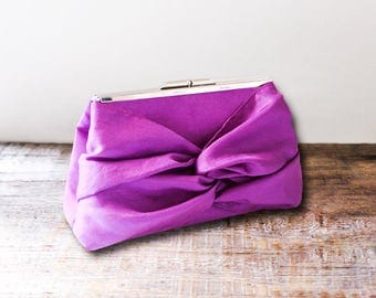 Knot Bow Bridesmaid Clutch With Metal Frame- Bridal Gift Idea - Purple Plum, Gray, Ivory, Pink and More- 32 Colors