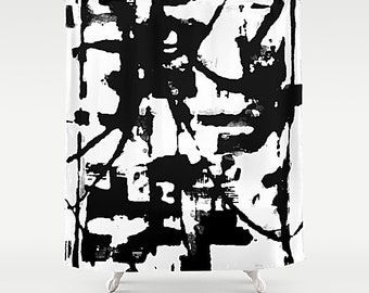 Black And White Shower Curtain Modern Bathroom Abstract Art Bath