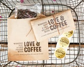 Love and Coffee - Whole Bean Wedding Favor Bags - Thank You Gift - Mr & Mrs - Budget Coffee Favors - 20 Kraft brown Bags