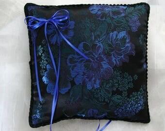 Elegant Asian Cobalt Blue Asters Ring Pillow-Asian Brocade-Black and Green Asian Flowers-Black Trim Ring Bearer-Ring Barer-Cushion